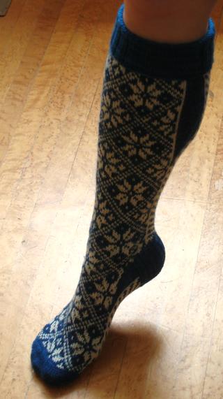 Norwegian socks inside leg